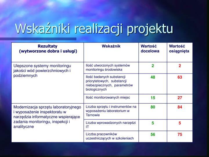 Wskaźniki realizacji projektu