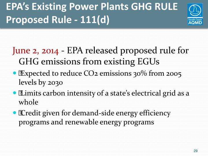 EPA's Existing Power Plants GHG RULE Proposed Rule - 111(d)