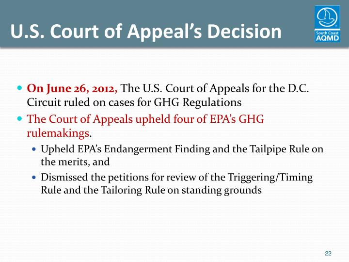 U.S. Court of Appeal's Decision