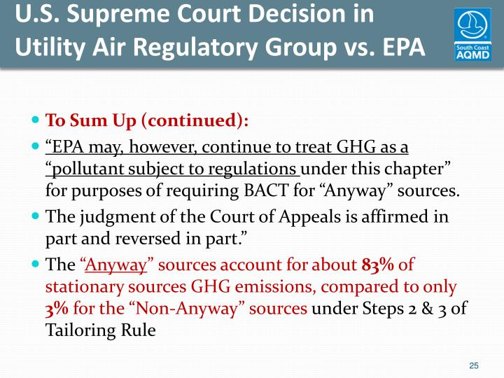 U.S. Supreme Court Decision in Utility Air Regulatory Group vs. EPA