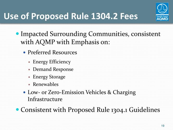Use of Proposed Rule 1304.2 Fees