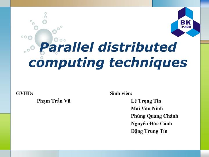 parallel distributed computing techniques n.