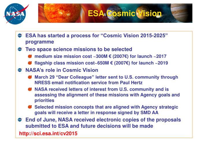 ESA Cosmic Vision
