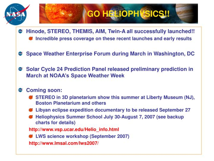 Go heliophysics