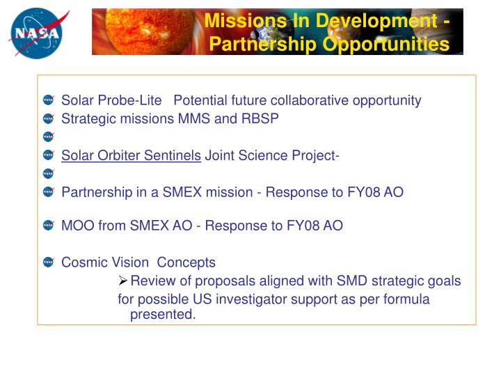 Missions In Development -