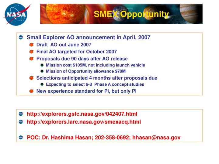 SMEX Opportunity