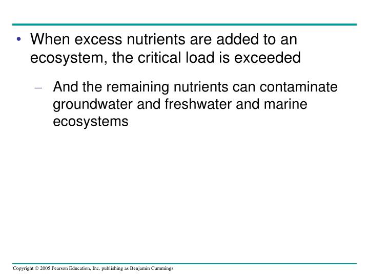 When excess nutrients are added to an ecosystem, the critical load is exceeded