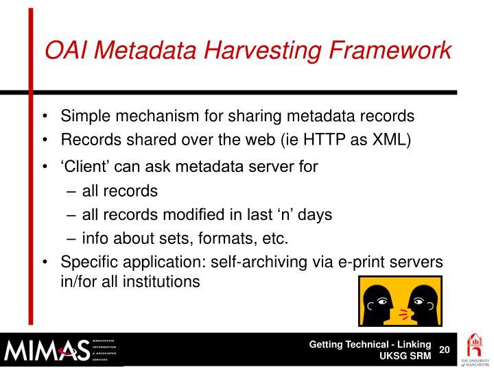 OAI Metadata Harvesting Framework
