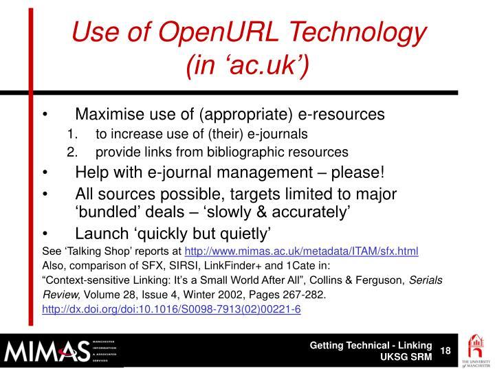 Use of OpenURL Technology