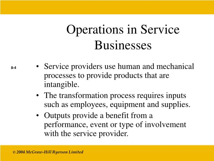Operations in Service Businesses