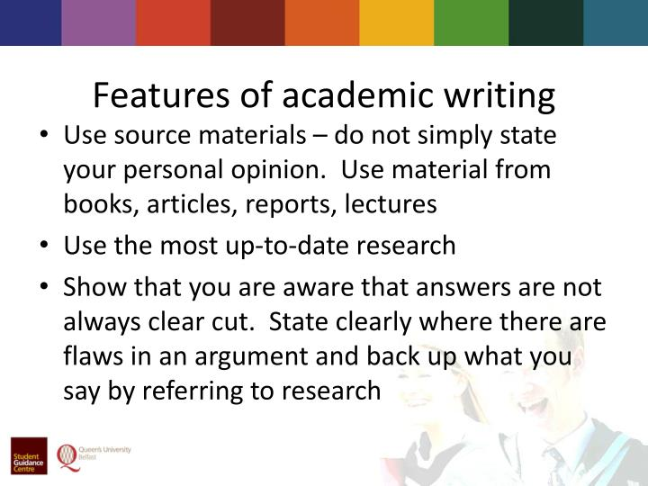 Academic writing features ppt