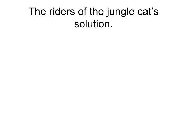 The riders of the jungle cat's solution.