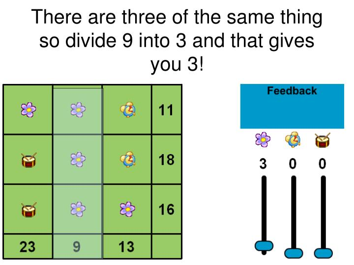 There are three of the same thing so divide 9 into 3 and that gives you 3!
