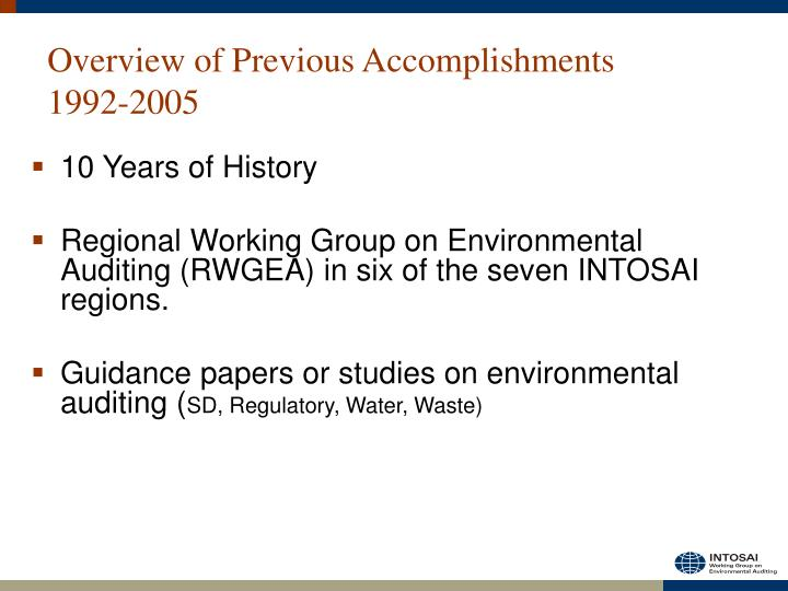 Overview of previous accomplishments 1992 2005