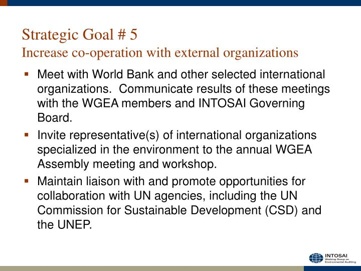 Strategic Goal # 5