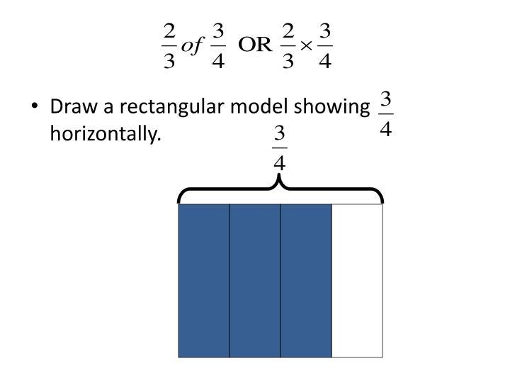 Draw a rectangular model showing   horizontally.