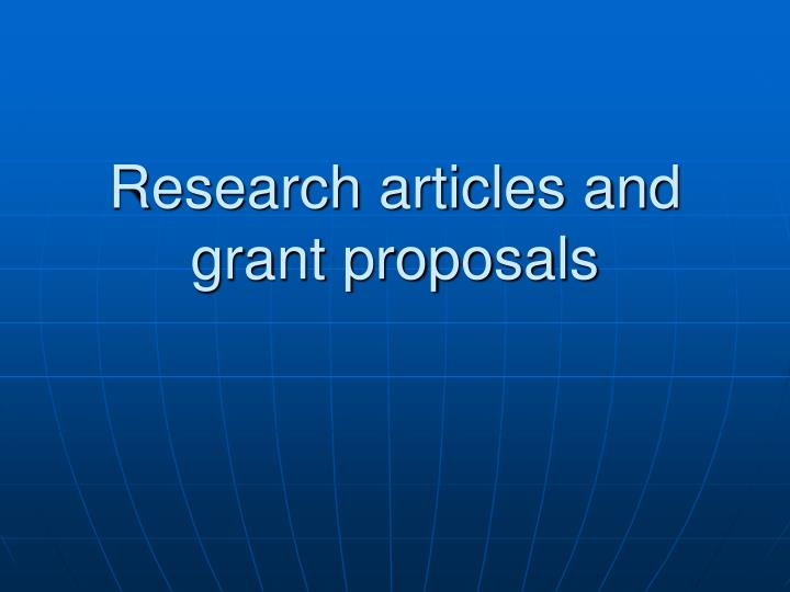 research articles and grant proposals n.