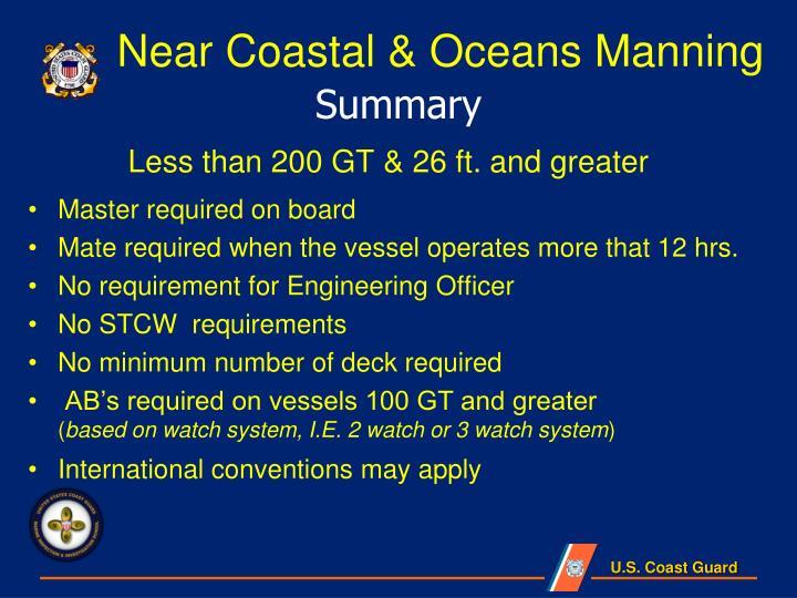 Near Coastal & Oceans Manning