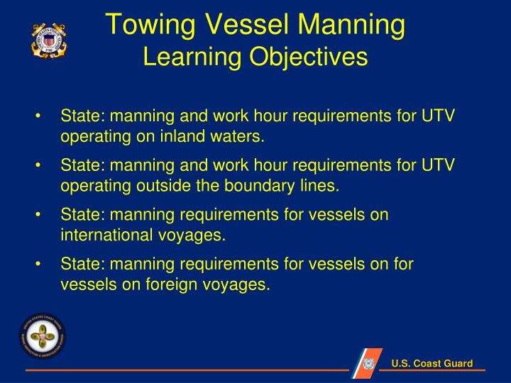 Towing vessel manning learning objectives