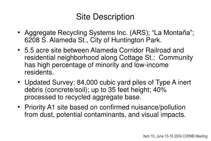 Site description