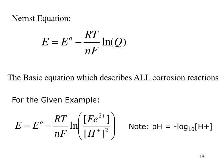 Nernst Equation: