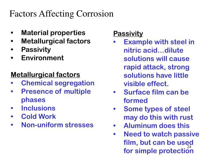 Factors Affecting Corrosion