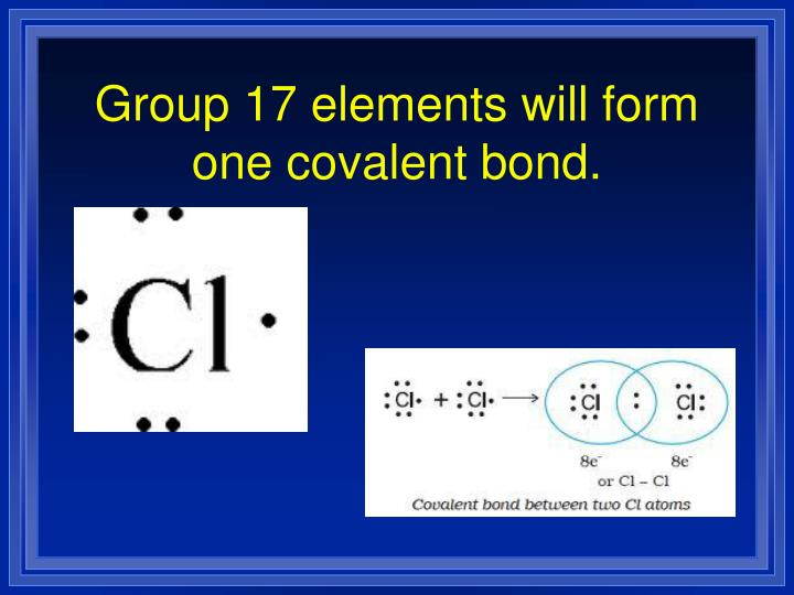 Group 17 elements will form one covalent bond.