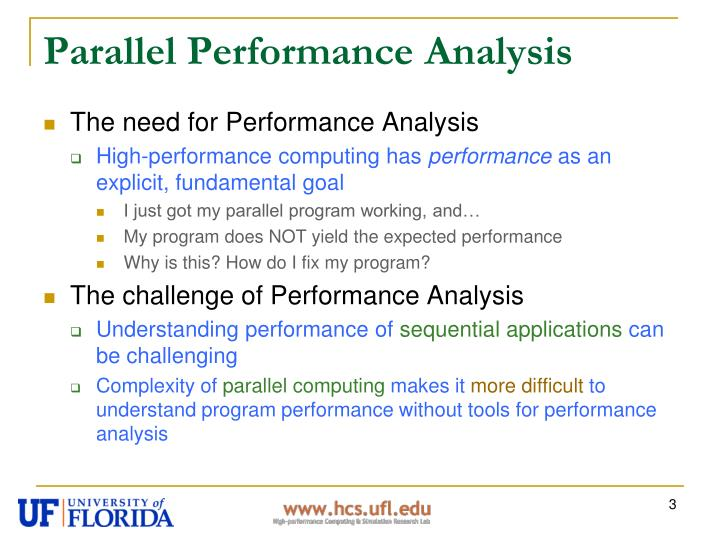Parallel performance analysis