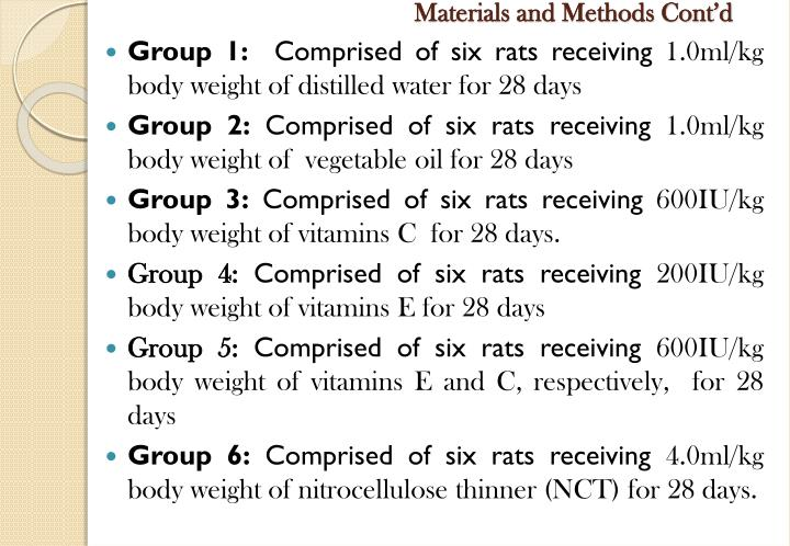 Materials and Methods Cont'd