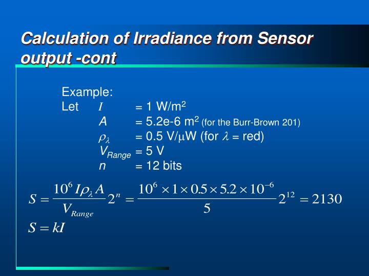 Calculation of Irradiance from Sensor output -cont