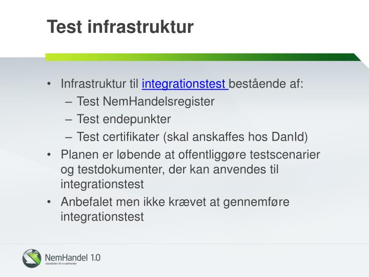 Test infrastruktur