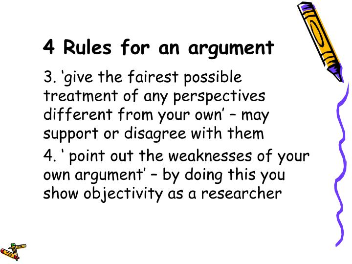 4 Rules for an argument