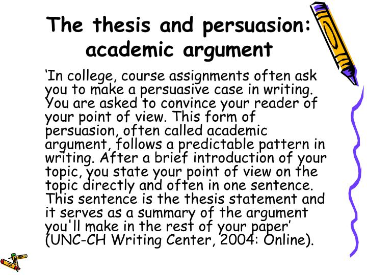 The thesis and persuasion: academic argument