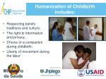 humanization of childbirth includes
