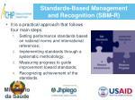 standards based management and recognition sbm r