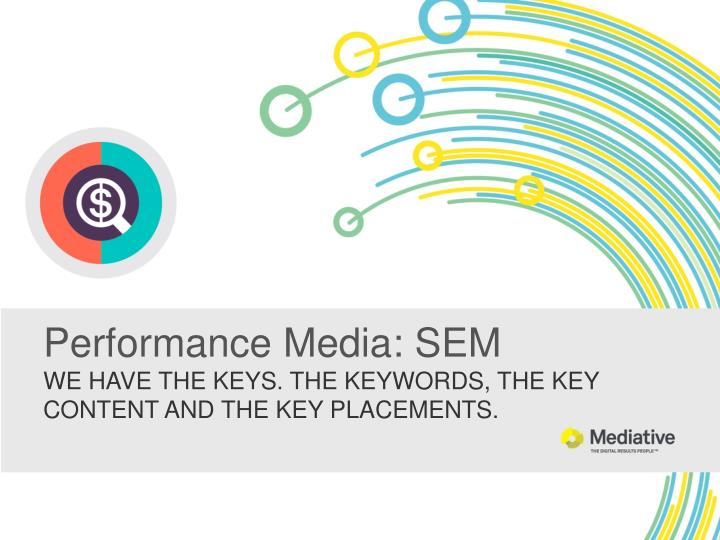 performance media sem we have the keys the keywords the key content and the key placements n.