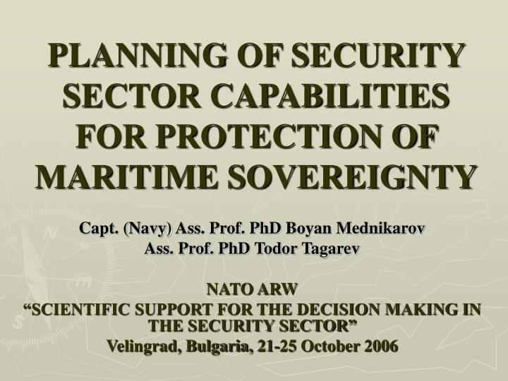 planning of security sector capabilities for protection of maritime sovereignty n.