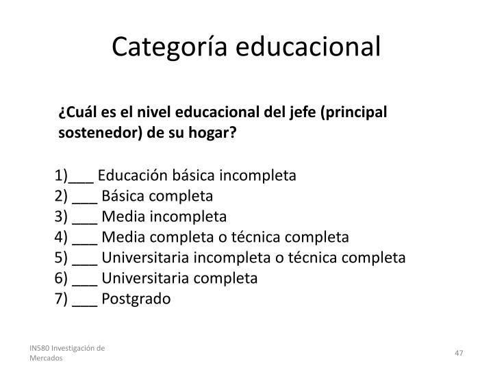 Categoría educacional