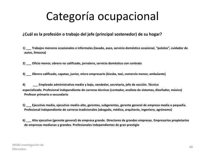 Categoría ocupacional