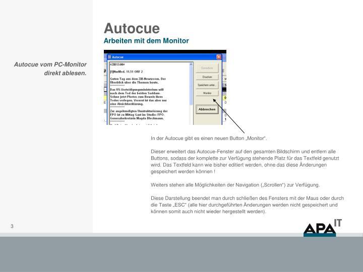 Autocue arbeiten mit dem monitor