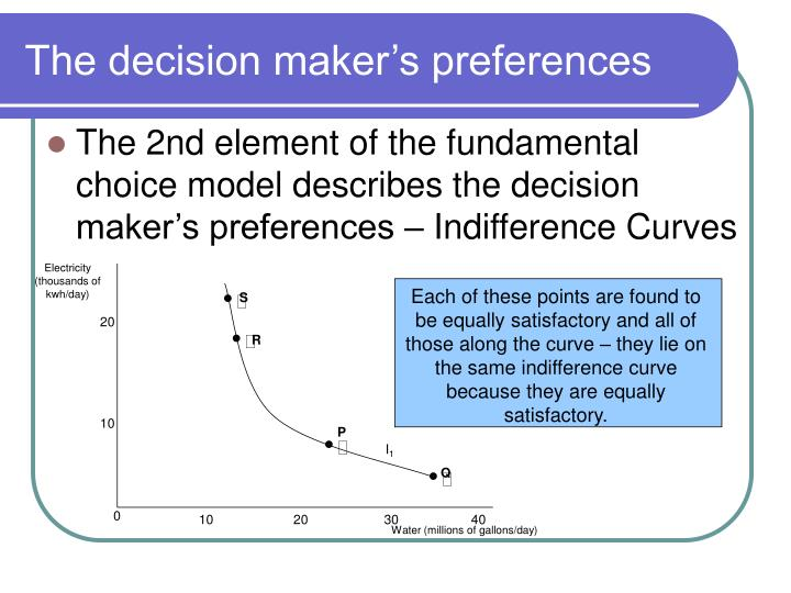 The decision maker's preferences