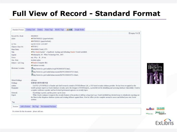 Full View of Record - Standard Format