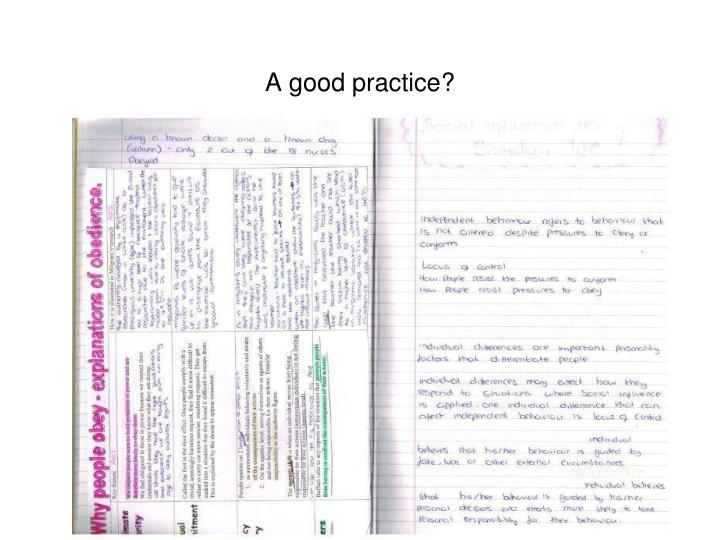 A good practice