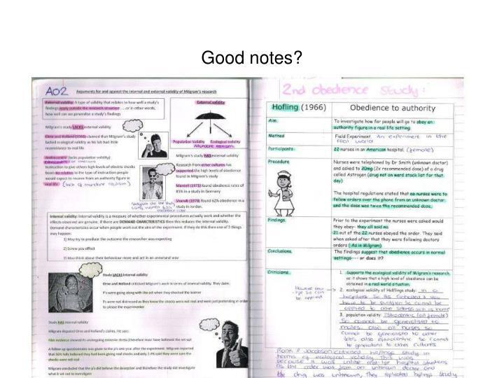 Good notes?