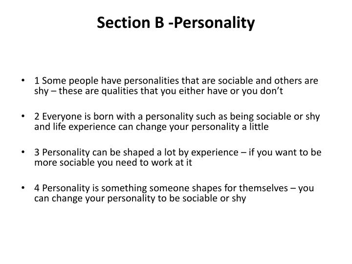 Section B -Personality