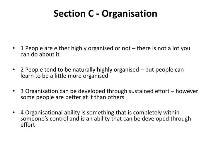 Section C - Organisation