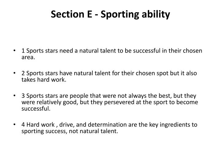 Section E - Sporting ability