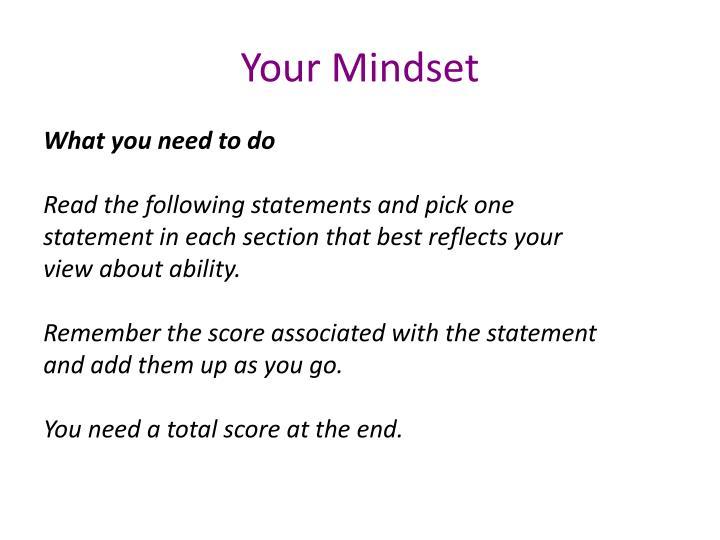 Your Mindset