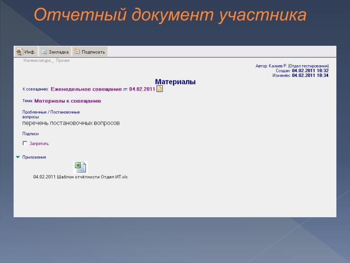 Отчетный документ участника