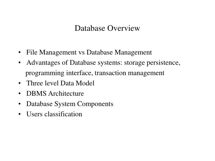 database overview n.